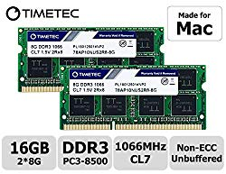 "Timetec Hynix IC 16GB KIT(2x8GB) Compatible for Apple DDR3 PC3-8500 1067MHz/1066MHz Upgrade for MacBook 13"" Mid 2010, MacBook Pro 13"" Mid 2010, iMac 27""Late 2009, Mac Mini Mid 2010(16GB KIT(2x8GB))"