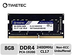 Timetec Hynix IC 8GB DDR4 2400MHz PC4-19200 Unbuffered Non-ECC 1.2V CL17 1Rx8 Single Rank 260 Pin SODIMM Laptop Notebook Computer Memory RAM Module Upgrade (8GB)
