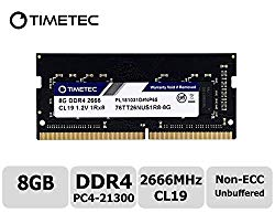 Timetec Hynix IC 8GB DDR4 2666MHz PC4-21300 Unbuffered Non-ECC 1.2V CL19 1Rx8 Single Rank 260 Pin SODIMM Laptop Notebook Computer Memory RAM Module Upgrade (8GB)