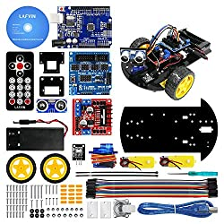 LAFVIN Smart Robot Car 2WD Chassis Kit with Ultrasonic Module R3 Board,Remote Compatible with Arduino IDE DIY Kit