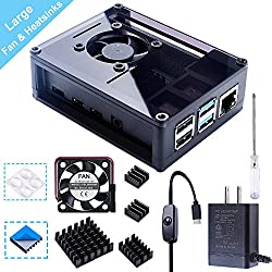Smraza Acrylic Case for Raspberry Pi 4 Model B, Case with 35 MM Fan, 4PCS Heatsinks, 5V 3A USB-C Power Supply Compatible with Raspberry Pi 4 (Upgrade, Large Fan and Large Heat Sinks) -Black