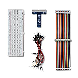 UCTRONICS GPIO Breakout Kit for Raspberry Pi – Assembled Pi T- Type Breakout + 830 Tie Points Solderless Breadboard + 40 Pin Male – Female – Male Rainbow Ribbon Cable + 65pcs Jump Wires